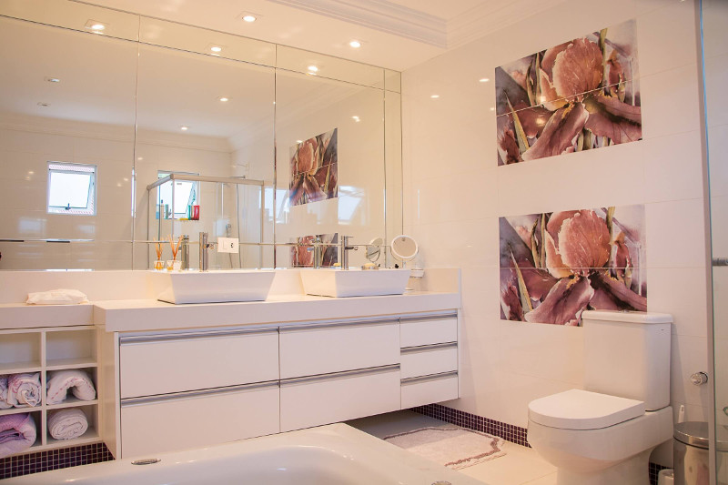 contemporary bathroom with vessel sinks