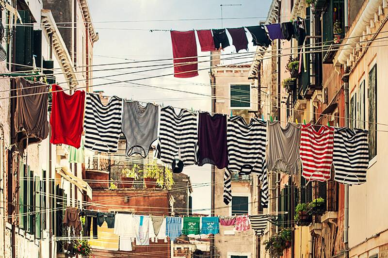 buildings with clothes lines