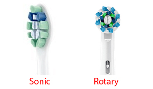 sonic vs rotary brush head example