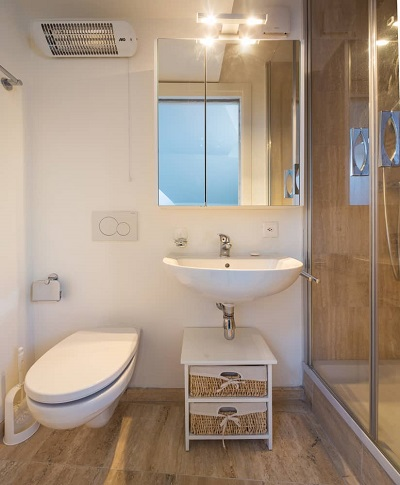 shower and toilet in bathroom