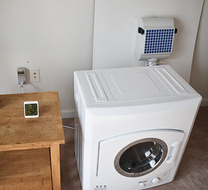 Panda Portable Dryers tests indoor venting setup