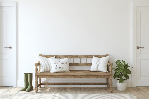 wood bench in entryway