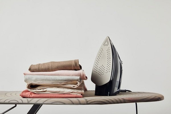 clothes on ironing board