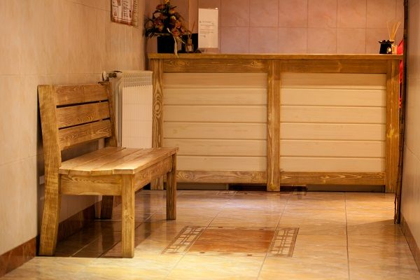wood bench in spa