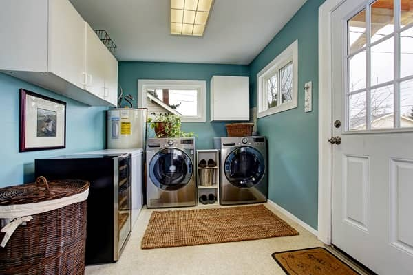 washer and dryer side by side in entry room