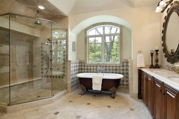 luxurious bathroom with bathtub