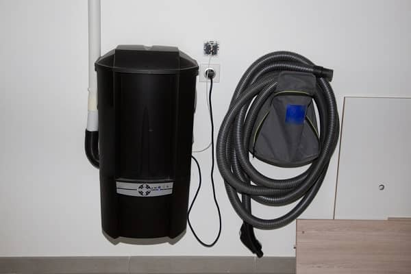 central vacuum cleaner system in basement